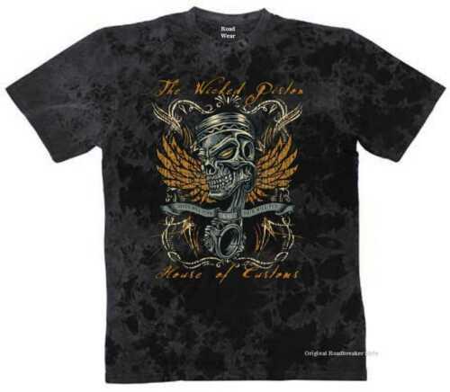 T Shirt Batik black Vintage HD Bikerr/&OldSchoolmotiv Modell The Wicked Piston