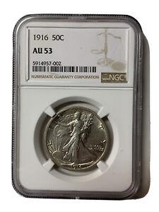 1916-Walking-Liberty-Silver-50C-Key-Date-Coin-NGC-AU-53