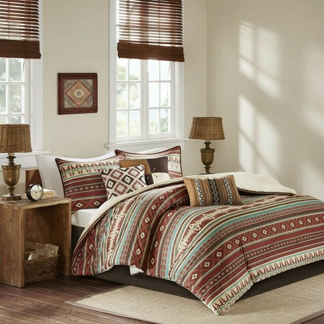 Queen Comforter Set Bedding South Western Rustic Farm House Log Cabin Lodge 7Pc