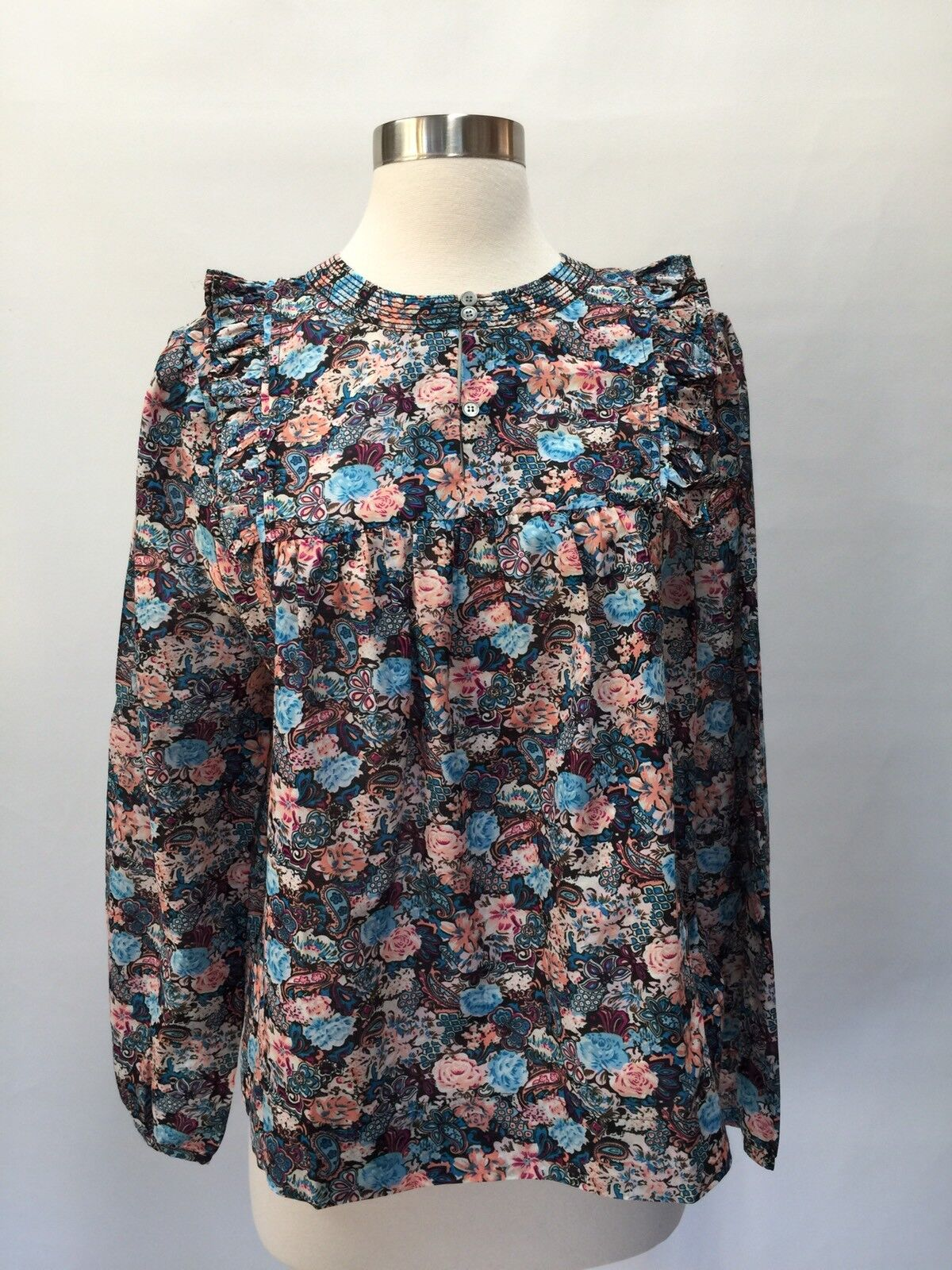 JCREW Ruffle-front top in paisley floral Sz XS H2201 HO17  In Multi New