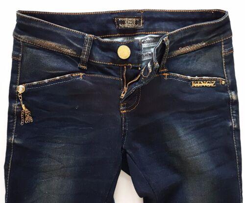 KingZ Damen  JEANS HOSE STRETCH Deep Blue Blau Skinny Slim Fit  w26 w28 w29