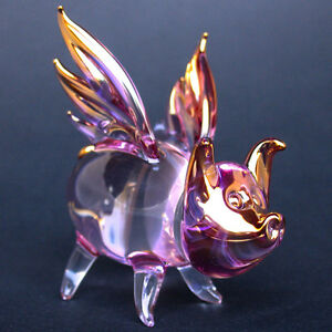 Pig-Wings-Flying-Figurine-Purple-Pink-Gold-Blown-Glass