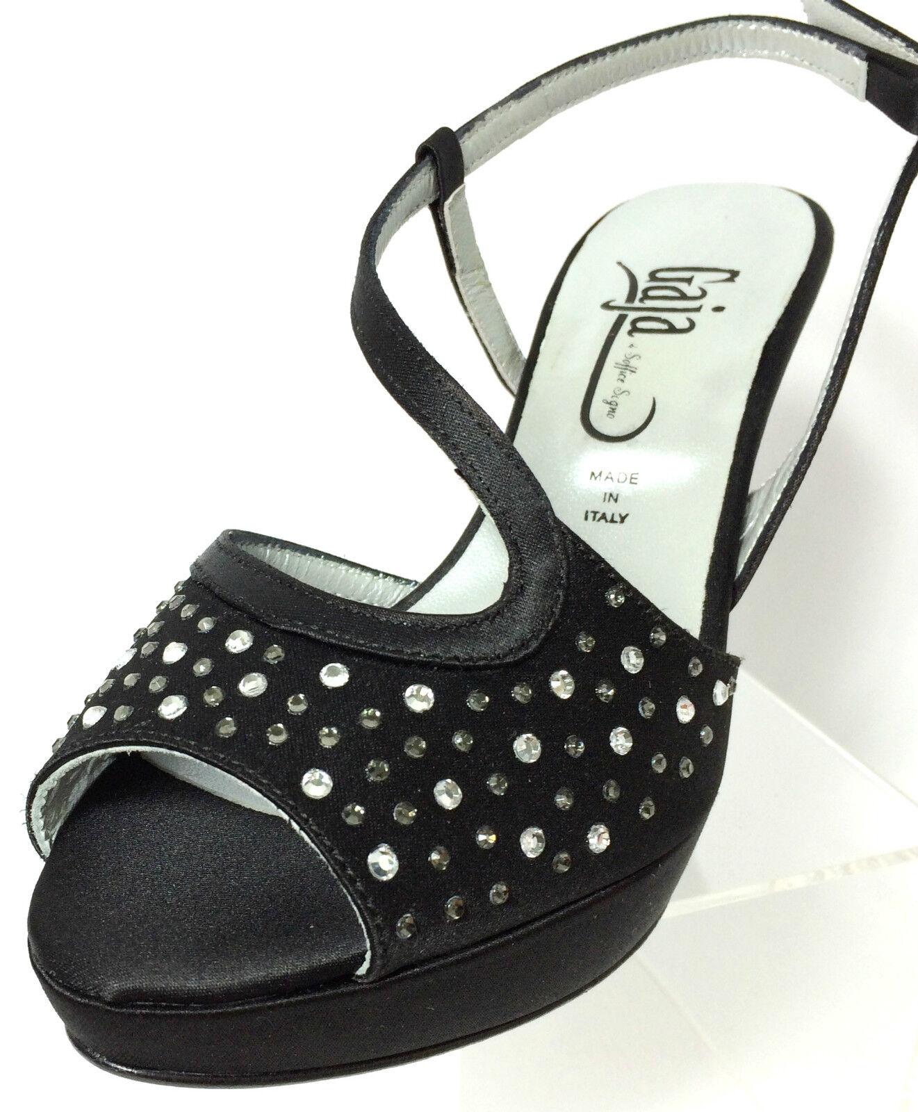 SOFFICE SOGNO chaussures COMODE femmes SANDALI RASO IN SETA CouleurE noir TACCO H 7 CM