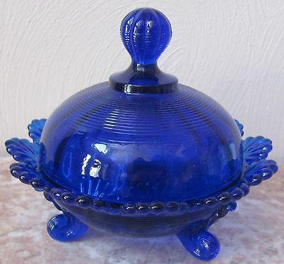 Covered Berry Bowl / Candy Dish / Butterdish - Klondyke - Cobalt Blue Glass
