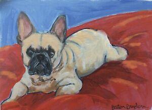 French-Bulldog-ACEO-Original-Miniature-acrylic-Painting-Cape-Cod-Artist