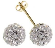 9CT YELLOW GOLD 7.5MM ROUND CZ WHITE CRYSTAL BALL STUD EARRINGS PIECED GIFT BOX