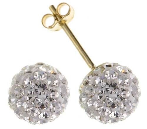 9CT GOLD CZ CRYSTAL STUD EARRINGS 7.5MM ROUND WHITE BALL PIERCED GIFT BOX