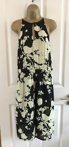 A-L-C-Dress-UK-Size-10-12-Yellow-Black-Halter-Neck-Floral-Summer-Slit-100-Silk