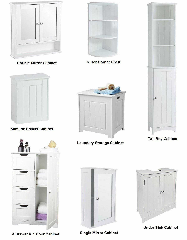 New White Wooden Furniture Bathroom Cabinet Shelf Cupboard Bedroom Storage  Unit