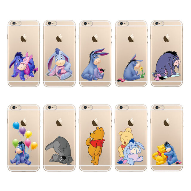 Transparent TPU Soft Back Cartoon Eeyore Pattern Case Cover For iPhone 5S 6 PLUS
