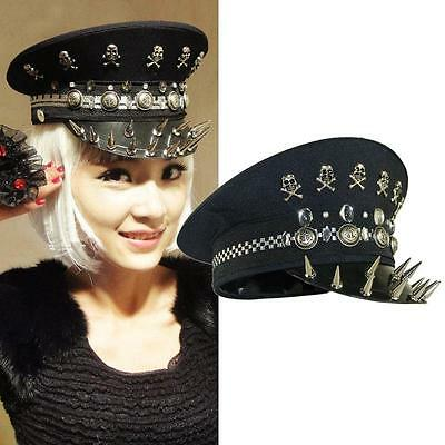 Nw Hell's Police Hat Halloween Gothic Punk Stage Parade Drag Queen Sexy Headgear