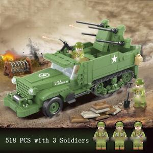 518pcs-Militaer-M16-Anti-aircraft-Fahrzeug-Modell-Bausteine-mit-Soldat-Figuren