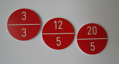 30 Stück PVC Zahlenmarken Ziffernschilder  Kunststoff Ronden Ø 30mm rot weiß