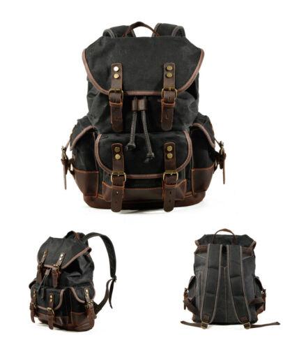 Vintage Men/'s Genuine Leather-Waxed Canvas Bag Shoulder Rucksack Hiking Backpack
