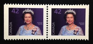 Canada-1357as-MNH-Queen-Elizabeth-II-Definitive-Booklet-Pair-of-Stamps-1991