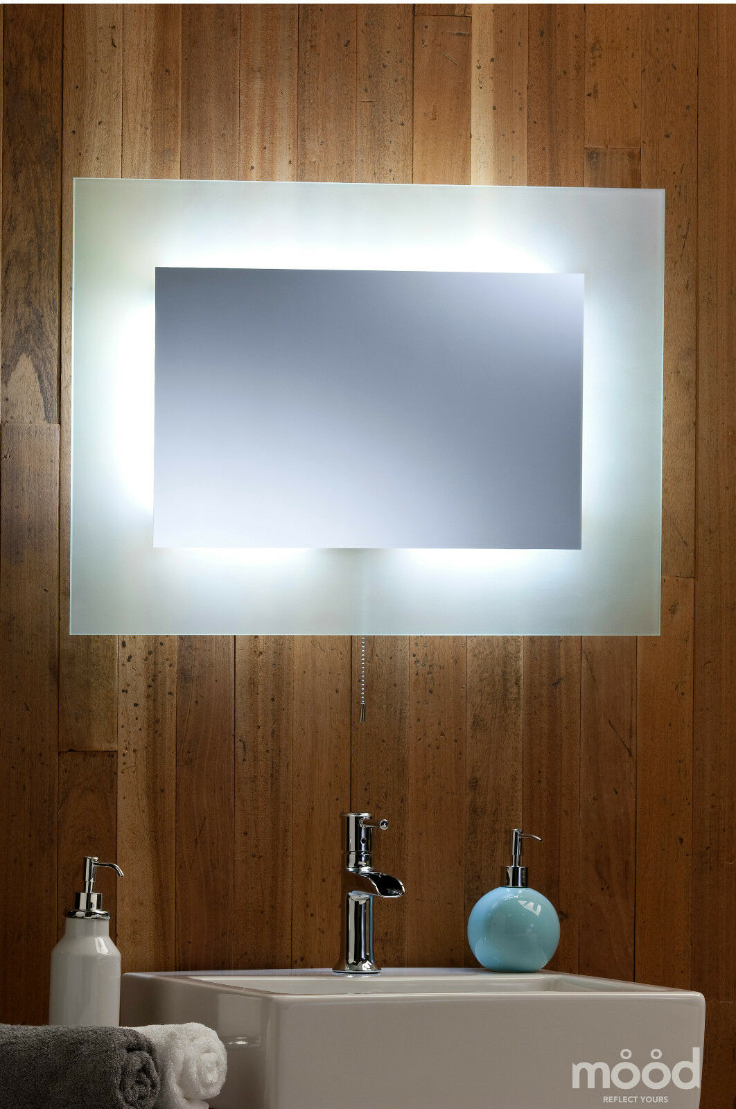 Bathroom Wall Mirror LED AMBIENT surround light with Frosted Edging ...