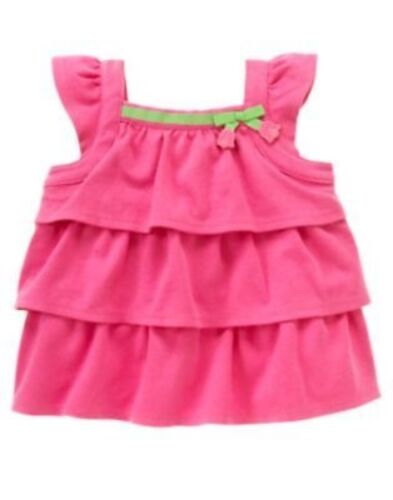 GYMBOREE BRIGHT TULIP PINK TIERED DANGLE ALINE TOP 18 24 3T 4T 5T NWT