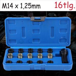 Zündkerzen Gewinde-Reparatur Satz Gewindebohrer Gewindeeinsätze Kfz Set M14x1,25