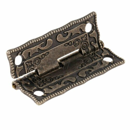 Classic Carved Flower Box Latch Hasp /& Hinges Cabinet Drawer Jewelry Box Decor