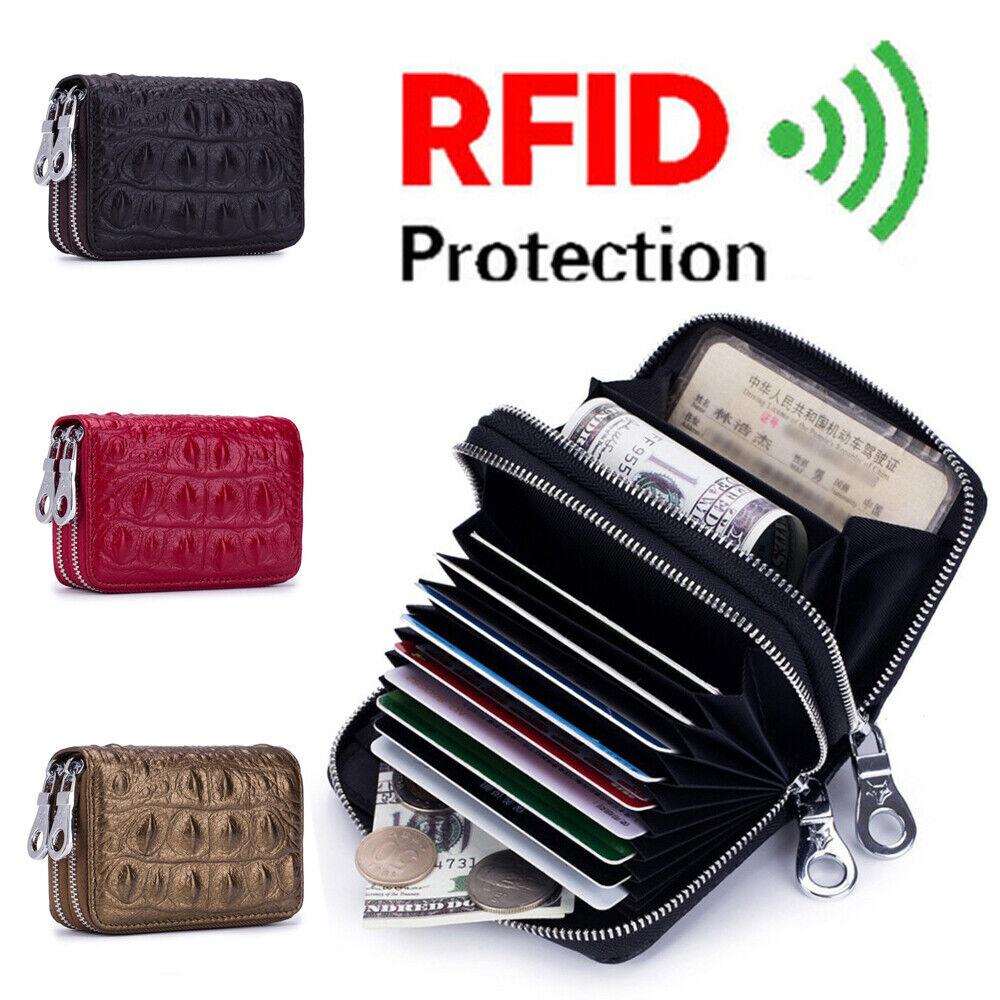RFID-Blocking Women/Men Mini Wallet Card Holder Leather Pocket Coin Small Purse