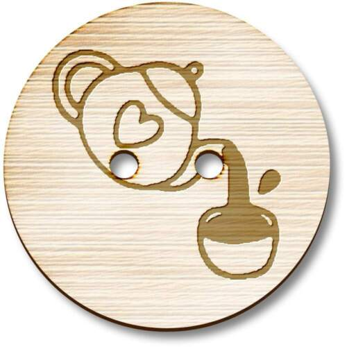 BT019222 /'Pouring Tea/' Wooden Buttons