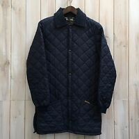 Vintage Barbour Diamond Quilted Men's Blue Jacket Coat - MADE IN ENGLAND - Small