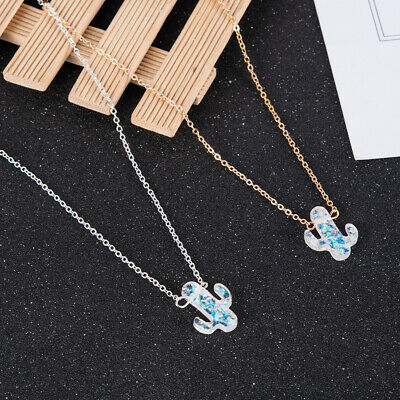 Women Fashion Opal Cactus Pendant Silver/&Gold Chain Necklace Charm Jewelry Gift