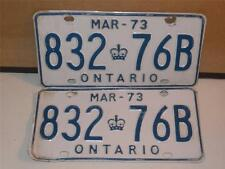 Set of 2 Ontario Canada Car License Plates MAR 1973 832-76B Crown Pair Vintage
