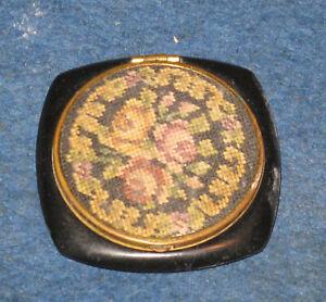 """Vintage FLOWER TAPESTRY DESIGN 2"""" Compact - Unbranded - Black Bakelite? Case"""