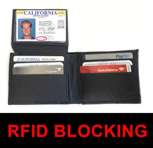 RFID Block Mens Plain Leather Window ID Bifold Thin Wallet Flap Top