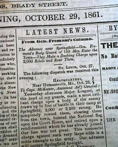 Rare-DAVENPORT-Iowa-Civil-War-Era-First-Battle-of-Springfield-MO-1861-Newspaper