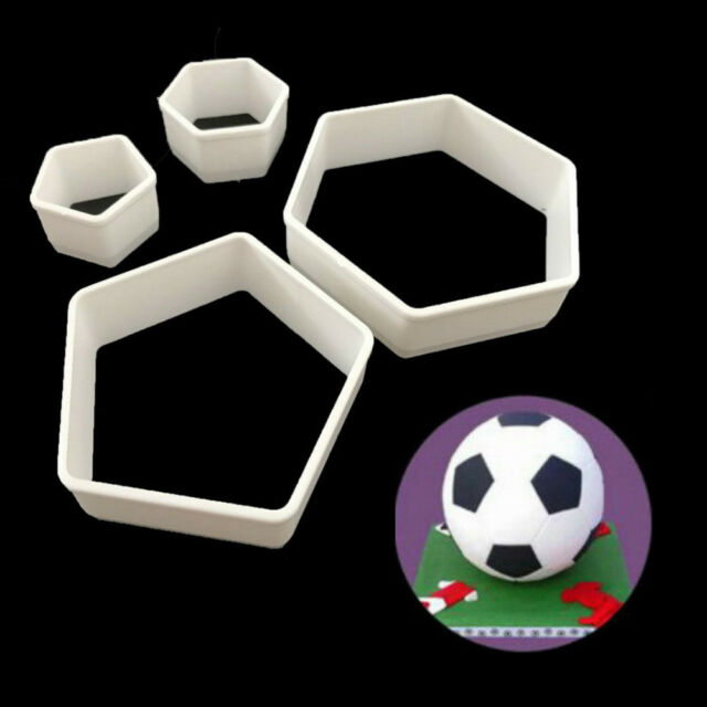 4Pcs Sugarcraft Football Fondant Mold Cookie Cutter Cake Decor Tools Bakeware J&