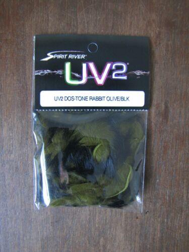 Fly tying UV2 dostone lapin bandes-Olive//Noir