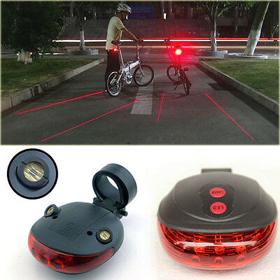 Bike Bicycle 5LED 2 Laser Beam MTB Cycle Rear Warn Light Red Safety Tail Lamp