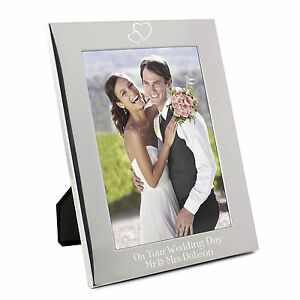 Personalised-Silver-Hearts-5x7-Photo-Frame-Engraved-Free-Wedding-Anniversary