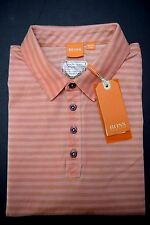 NWT Hugo Boss Orange Men's GR-Palwo Medium Pink Striped Cotton Polo Shirt S