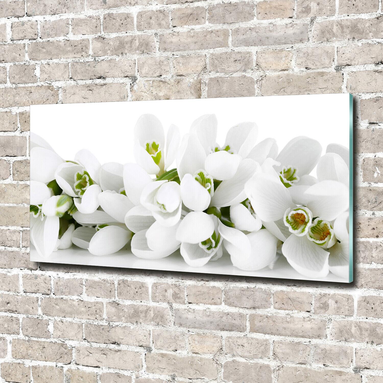 Acrylglas-Bild Wandbilder Druck 140x70 Deko Blaumen & Pflanzen Schneeglöckchen
