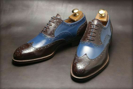 Handmade men two tone spectator scarpe, scarpe, scarpe, Marroneee and blu dress scarpe, wingtip scarpe 5a064f