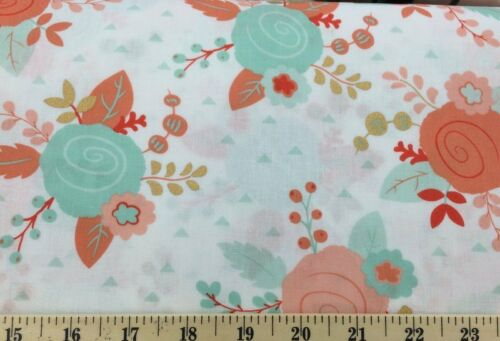 Mint Peach Gold White Piper Floral Fabric By the Yard Half Cotton Fabric a5//4