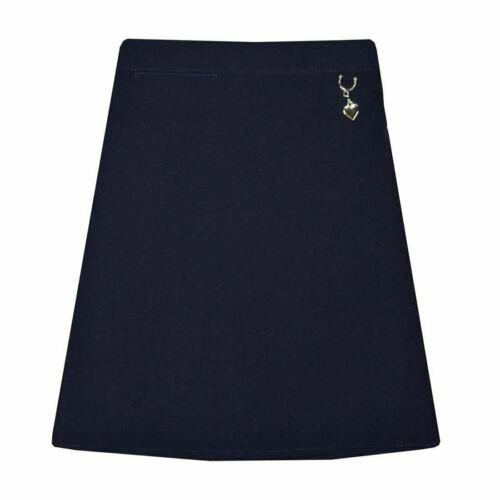 Girls School Uniform Plain Lycra Skirt With Attach Heart Elasticated Waist Skirt