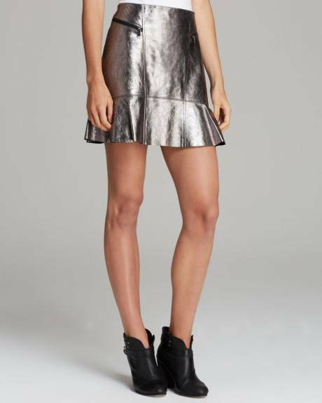 Marc Jacobs Gunmetal Metallic Celeste Leather Skirt  548 NWT 4
