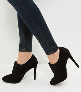 New-Look-Boots-Classic-Black-Suedette-Shoe-Boots-Size-5-Brand-New