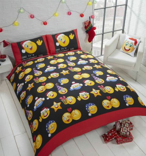 Christmas Icons Emoji Smiley Face Xmas Bedding Duvet Cover Reversible S//D//K
