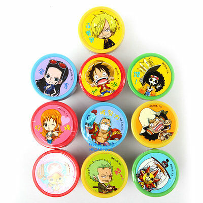 TAIWAN MADE ONE PIECE CARTOON PLASTIC INK 10 PCS SET AUTO STAMPS OT02382