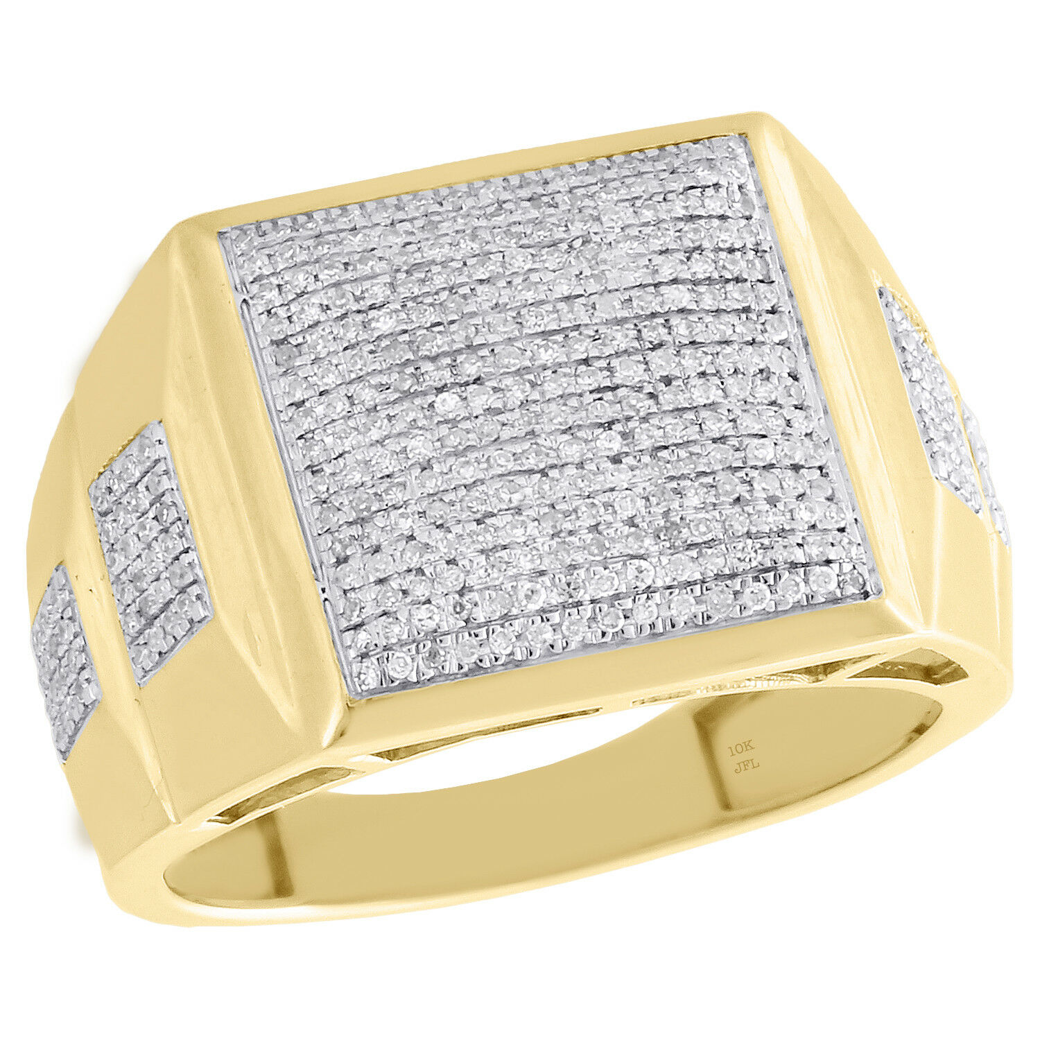 10K Yellow gold Diamond Dome Cluster Square Step Shank Mens Pinky Ring 0.44 CT.