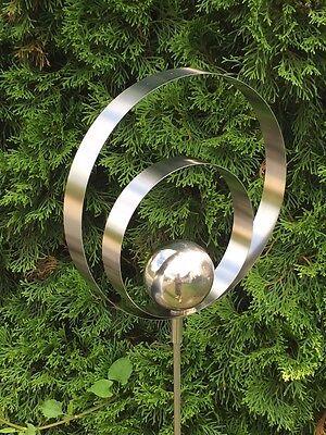 """Edelstahlstele """"Circle"""" 140cm hoch Gartendeko Windspiel Gartenstecker Edelstahl"""