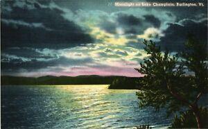 Vintage Postcard -  Moonlight Lake Champlain Burlington Vermont VT Linen #1862