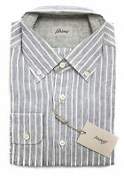 Brioni Italy Charcoal Gray Stripe Linen Dress Shirt Sz Iv 17 L Xl on sale
