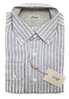 Brioni Italy Charcoal Gray Stripe Linen Dress Shirt Sz Iv 17 L Xl on sale