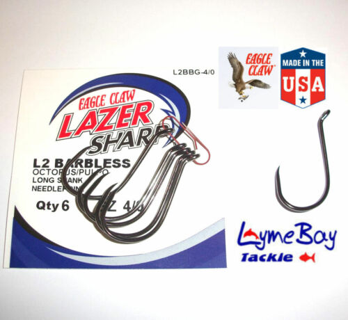 Eagle Claw L2BB OCTOPUS BARBLESS Hooks Sizes 4 to 5//0 L2BB Needlepoint